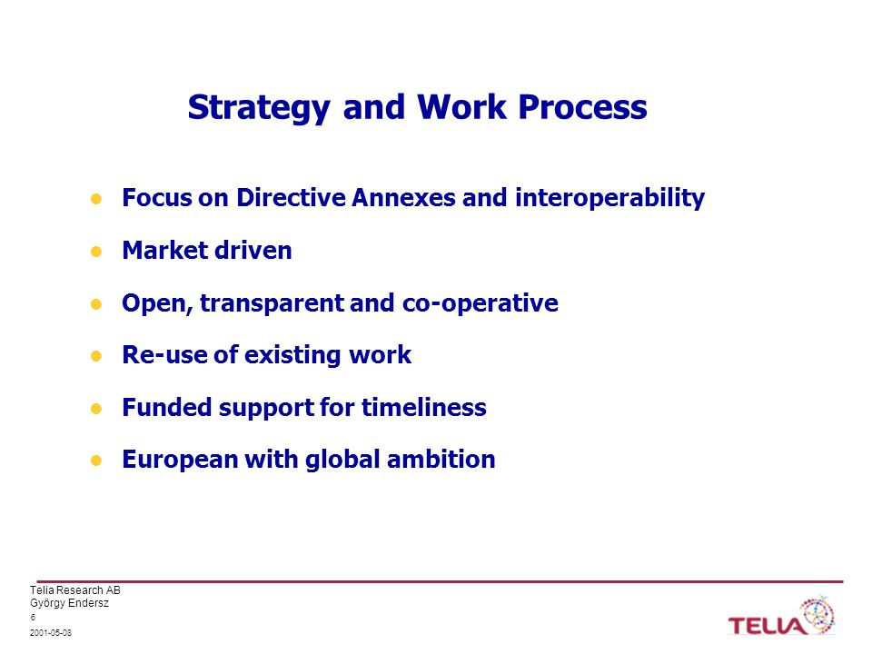 Telia Research AB György Endersz Strategy and Work Process Focus on Directive Annexes and interoperability Market driven Open, transparent and co-operative Re-use of existing work Funded support for timeliness European with global ambition
