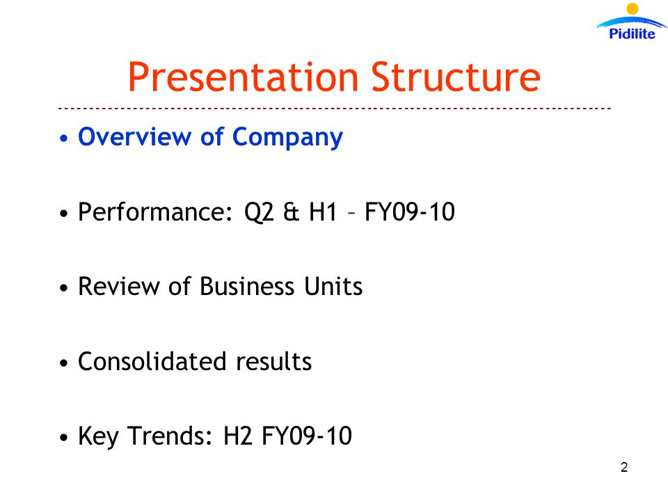 ------------------------------------------------------------------------------------------ 2 Presentation Structure Overview of Company Performance: Q2 & H1 – FY09-10 Review of Business Units Consolidated results Key Trends: H2 FY09-10