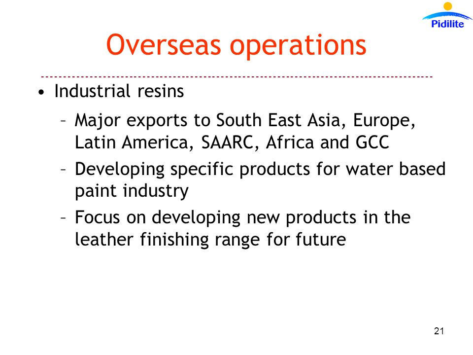 ------------------------------------------------------------------------------------------ 21 Overseas operations Industrial resins –Major exports to South East Asia, Europe, Latin America, SAARC, Africa and GCC –Developing specific products for water based paint industry –Focus on developing new products in the leather finishing range for future