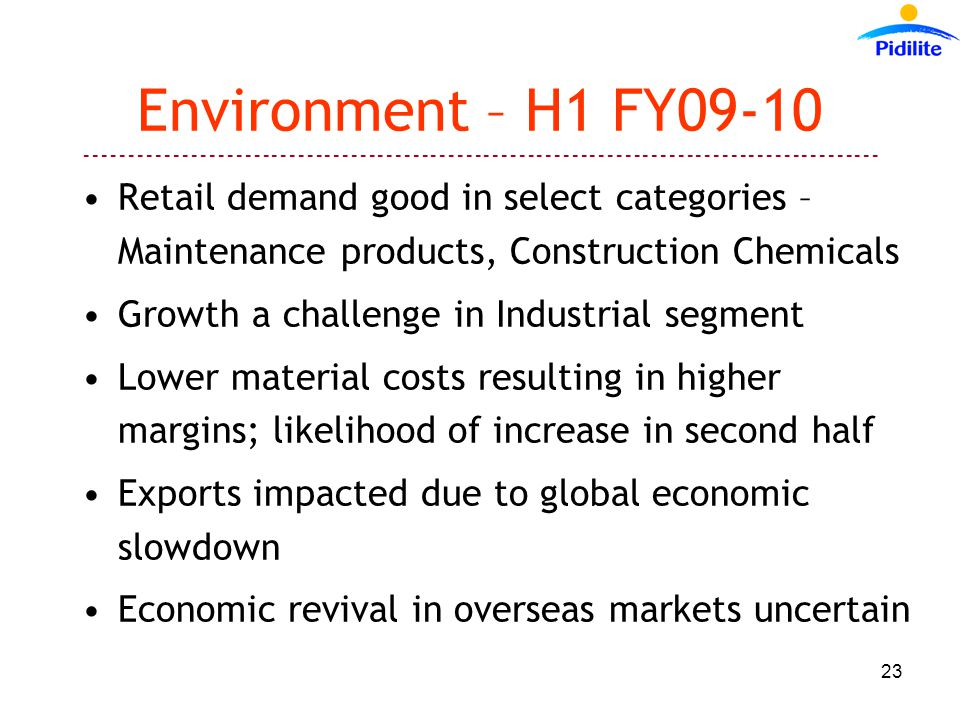 ------------------------------------------------------------------------------------------ 23 Environment – H1 FY09-10 Retail demand good in select categories – Maintenance products, Construction Chemicals Growth a challenge in Industrial segment Lower material costs resulting in higher margins; likelihood of increase in second half Exports impacted due to global economic slowdown Economic revival in overseas markets uncertain