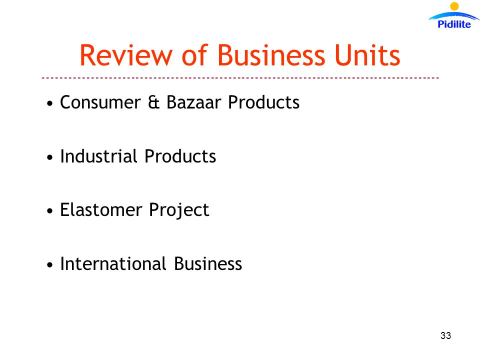 ------------------------------------------------------------------------------------------ 33 Review of Business Units Consumer & Bazaar Products Industrial Products Elastomer Project International Business