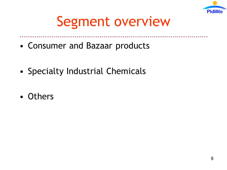 ------------------------------------------------------------------------------------------ 9 Segment overview Consumer and Bazaar products Specialty Industrial Chemicals Others
