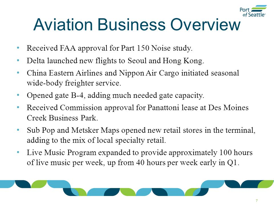 Aviation Business Overview Received FAA approval for Part 150 Noise study.