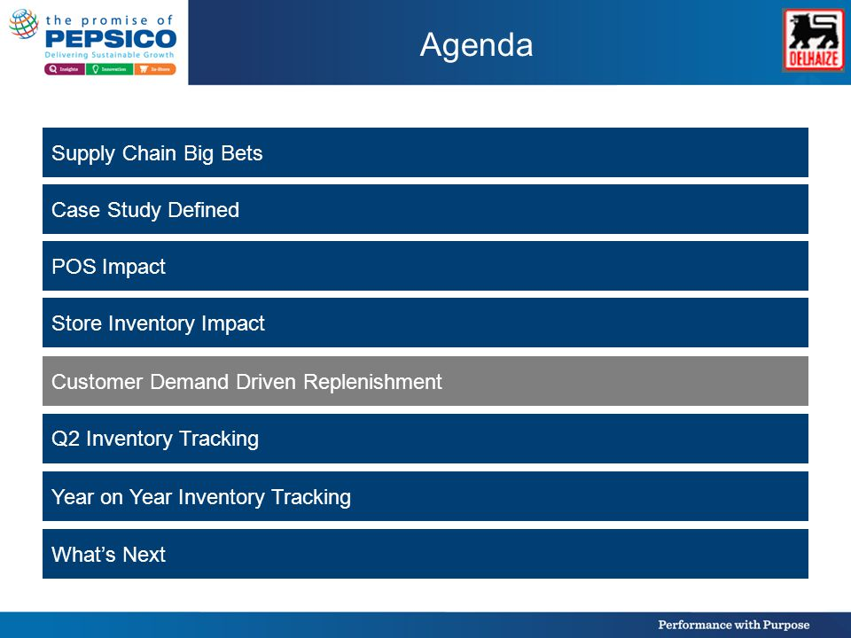 Agenda Supply Chain Big Bets Case Study Defined POS Impact Store Inventory Impact Customer Demand Driven Replenishment Q2 Inventory Tracking Year on Year Inventory Tracking What's Next