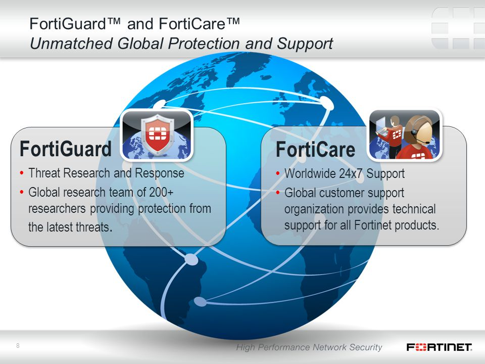 8 FortiGuard™ and FortiCare™ Unmatched Global Protection and Support FortiGuard Threat Research and Response Global research team of 200+ researchers providing protection from the latest threats.