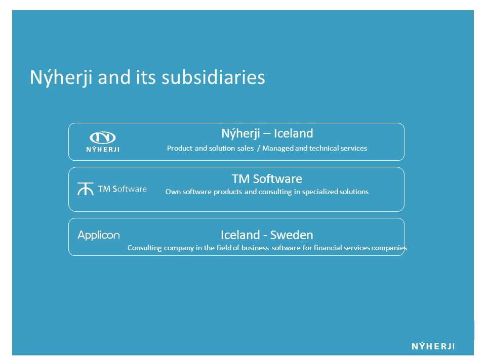 Nýherji – Iceland Product and solution sales / Managed and technical services TM Software Own software products and consulting in specialized solutions Iceland - Sweden Consulting company in the field of business software for financial services companies Nýherji and its subsidiaries