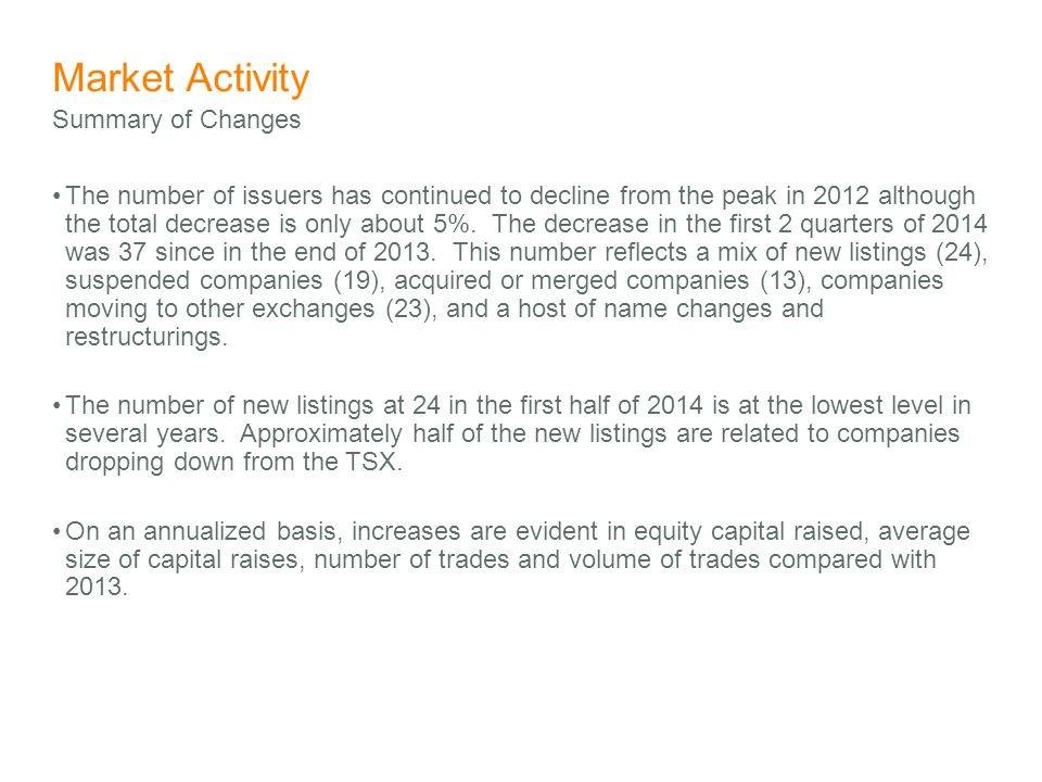 Market Activity The number of issuers has continued to decline from the peak in 2012 although the total decrease is only about 5%.