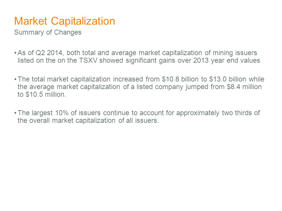 Market Capitalization As of Q2 2014, both total and average market capitalization of mining issuers listed on the on the TSXV showed significant gains over 2013 year end values The total market capitalization increased from $10.8 billion to $13.0 billion while the average market capitalization of a listed company jumped from $8.4 million to $10.5 million.