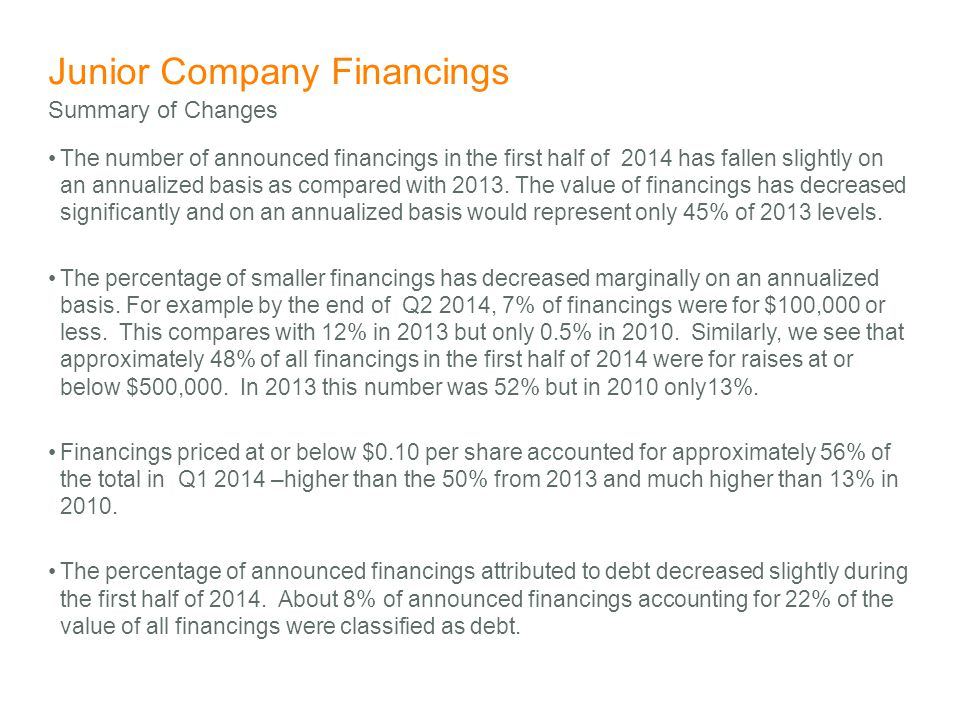 Junior Company Financings The number of announced financings in the first half of 2014 has fallen slightly on an annualized basis as compared with 2013.