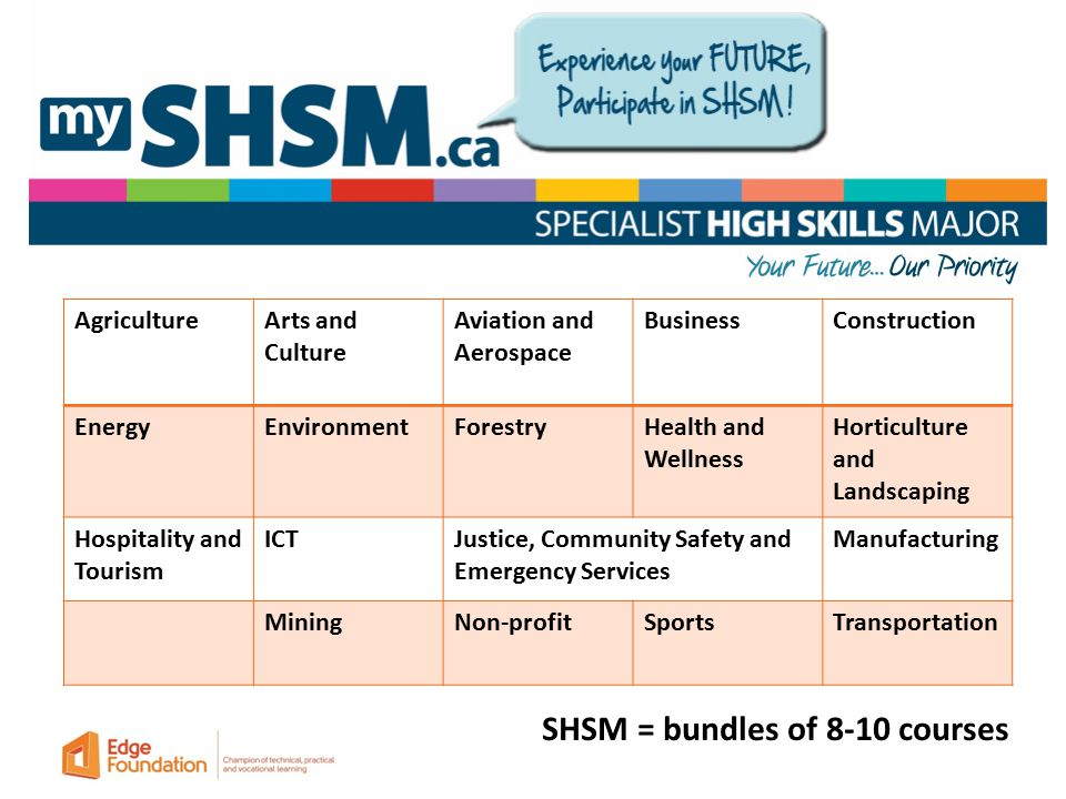 AgricultureArts and Culture Aviation and Aerospace BusinessConstruction EnergyEnvironmentForestryHealth and Wellness Horticulture and Landscaping Hospitality and Tourism ICTJustice, Community Safety and Emergency Services Manufacturing MiningNon-profitSportsTransportation SHSM = bundles of 8-10 courses