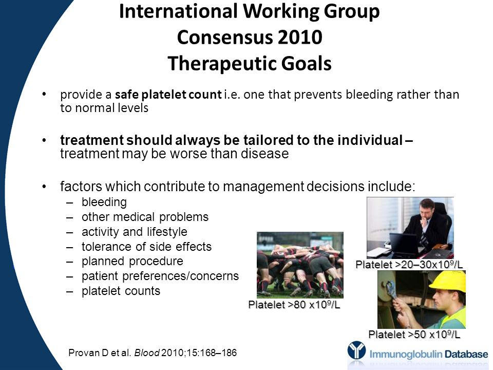 International Working Group Consensus 2010 Therapeutic Goals provide a safe platelet count i.e.