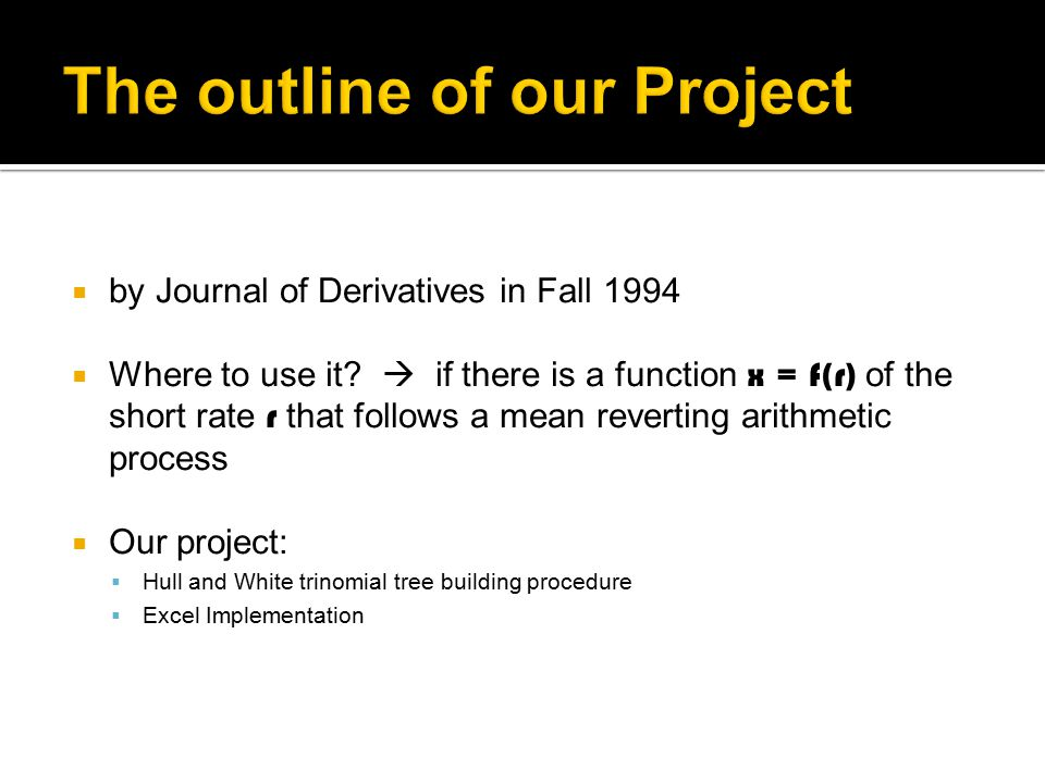  by Journal of Derivatives in Fall 1994  Where to use it.