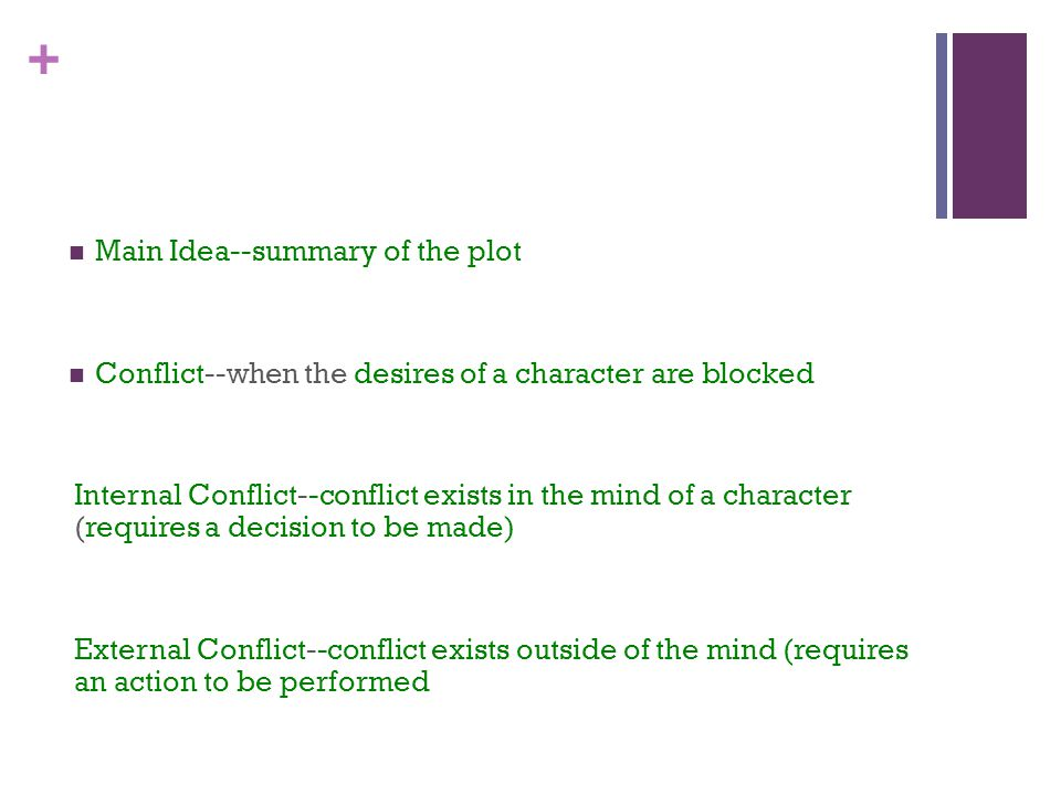 + Main Idea--summary of the plot Conflict--when the desires of a character are blocked Internal Conflict--conflict exists in the mind of a character (requires a decision to be made) External Conflict--conflict exists outside of the mind (requires an action to be performed