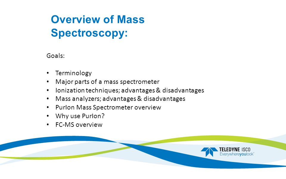 Overview of Mass Spectroscopy: Goals: Terminology Major parts of a mass spectrometer Ionization techniques; advantages & disadvantages Mass analyzers; advantages & disadvantages PurIon Mass Spectrometer overview Why use PurIon.