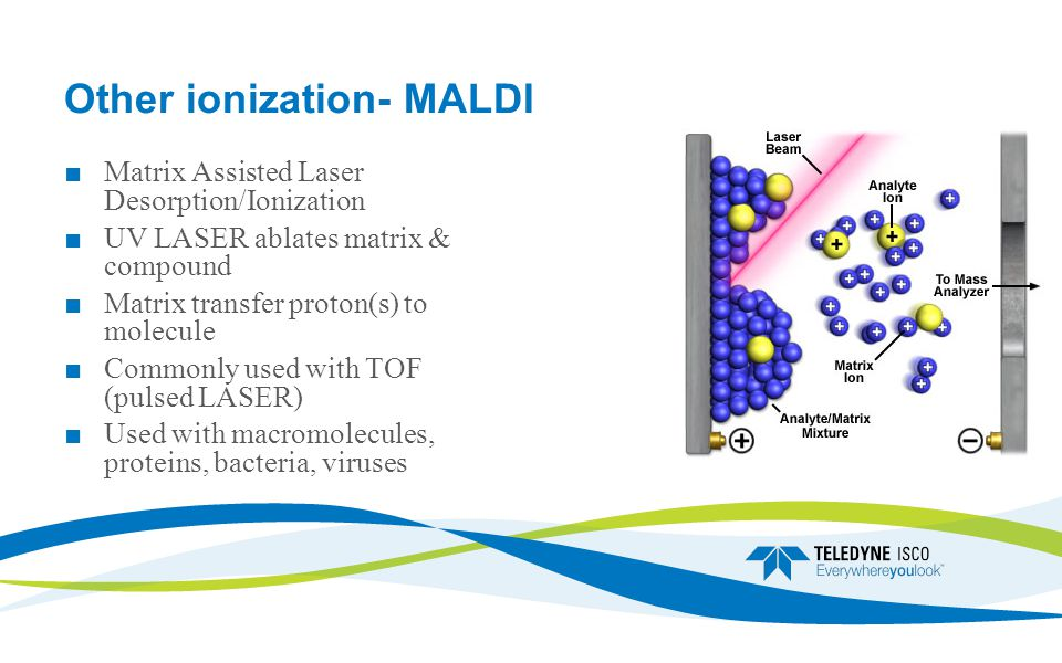 Other ionization- MALDI ■ Matrix Assisted Laser Desorption/Ionization ■ UV LASER ablates matrix & compound ■ Matrix transfer proton(s) to molecule ■ Commonly used with TOF (pulsed LASER) ■ Used with macromolecules, proteins, bacteria, viruses