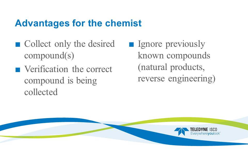 Advantages for the chemist ■ Collect only the desired compound(s) ■ Verification the correct compound is being collected ■Ignore previously known compounds (natural products, reverse engineering)