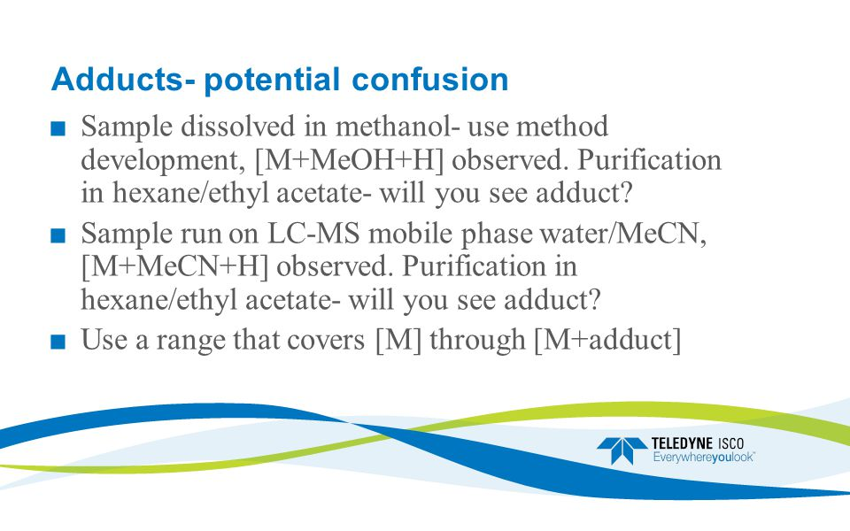 Adducts- potential confusion ■ Sample dissolved in methanol- use method development, [M+MeOH+H] observed.
