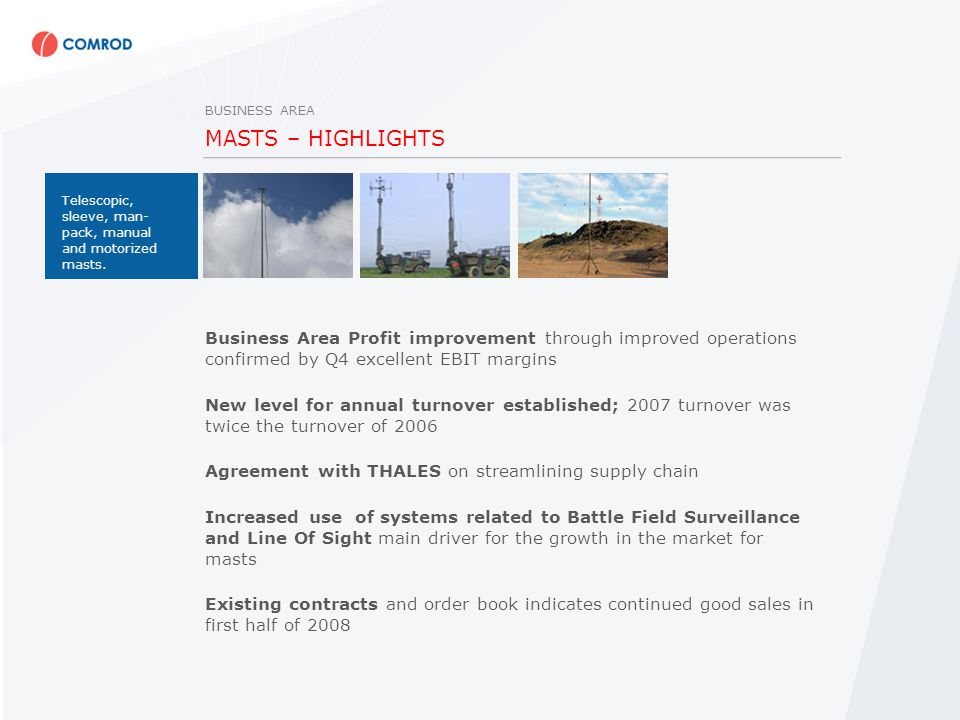 MASTS – HIGHLIGHTS Business Area Profit improvement through improved operations confirmed by Q4 excellent EBIT margins New level for annual turnover established; 2007 turnover was twice the turnover of 2006 Agreement with THALES on streamlining supply chain Increased use of systems related to Battle Field Surveillance and Line Of Sight main driver for the growth in the market for masts Existing contracts and order book indicates continued good sales in first half of 2008 BUSINESS AREA Telescopic, sleeve, man- pack, manual and motorized masts.
