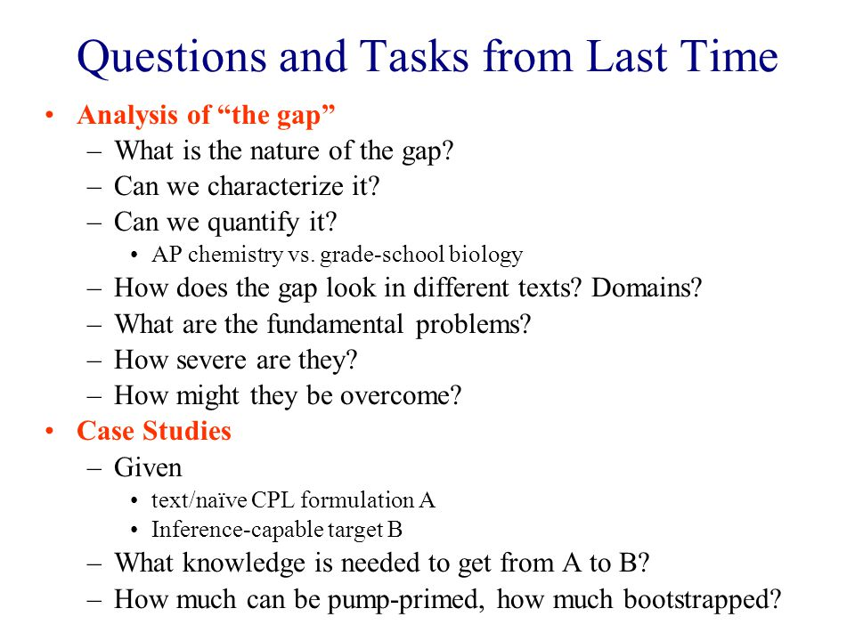Questions and Tasks from Last Time Analysis of the gap –What is the nature of the gap.