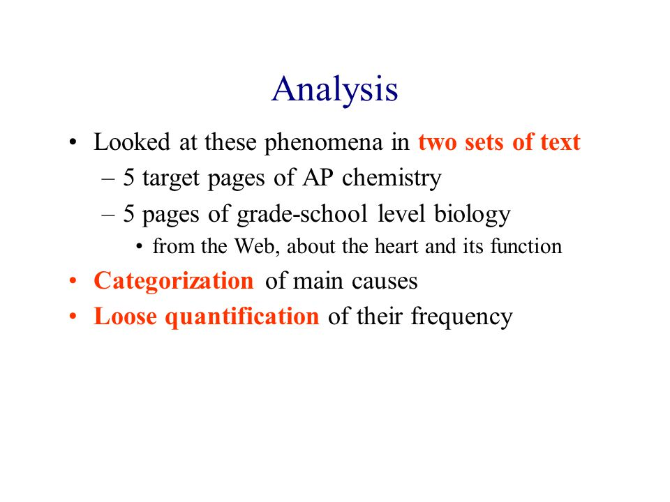 Analysis Looked at these phenomena in two sets of text –5 target pages of AP chemistry –5 pages of grade-school level biology from the Web, about the heart and its function Categorization of main causes Loose quantification of their frequency