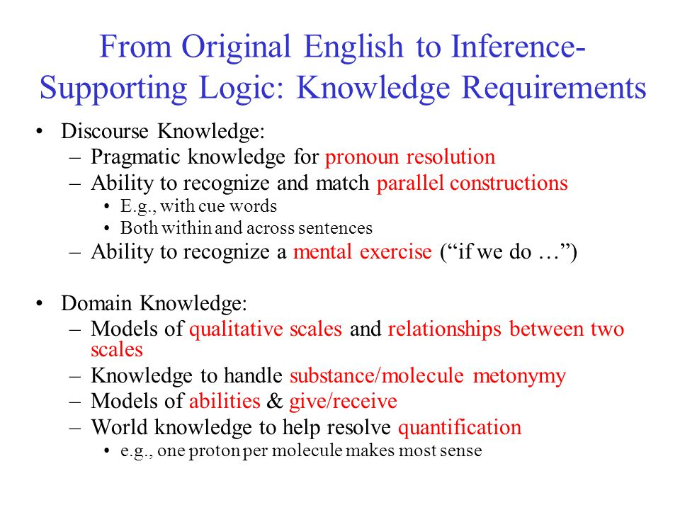 From Original English to Inference- Supporting Logic: Knowledge Requirements Discourse Knowledge: –Pragmatic knowledge for pronoun resolution –Ability to recognize and match parallel constructions E.g., with cue words Both within and across sentences –Ability to recognize a mental exercise ( if we do … ) Domain Knowledge: –Models of qualitative scales and relationships between two scales –Knowledge to handle substance/molecule metonymy –Models of abilities & give/receive –World knowledge to help resolve quantification e.g., one proton per molecule makes most sense