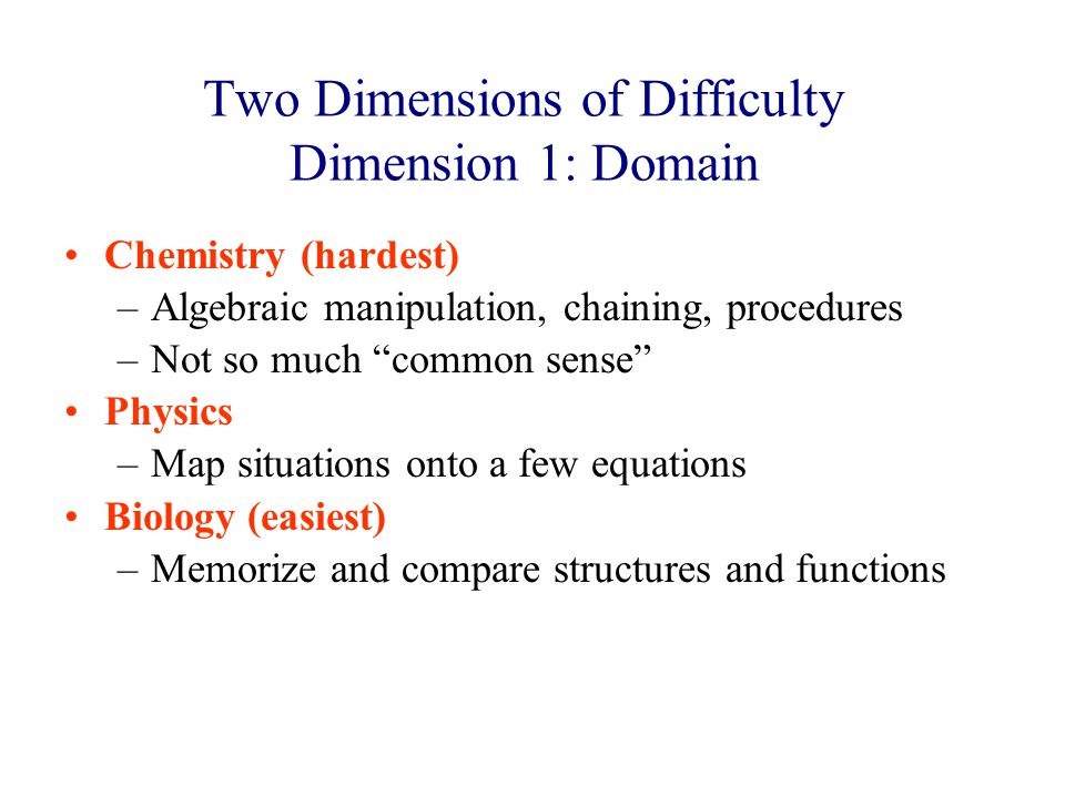 Two Dimensions of Difficulty Dimension 1: Domain Chemistry (hardest) –Algebraic manipulation, chaining, procedures –Not so much common sense Physics –Map situations onto a few equations Biology (easiest) –Memorize and compare structures and functions
