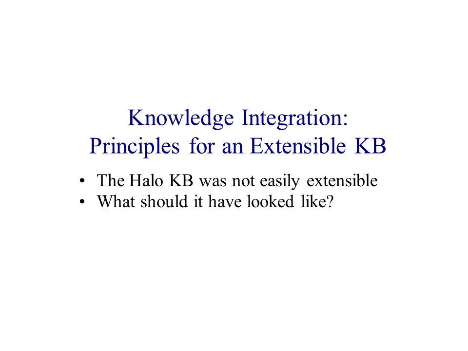 Knowledge Integration: Principles for an Extensible KB The Halo KB was not easily extensible What should it have looked like