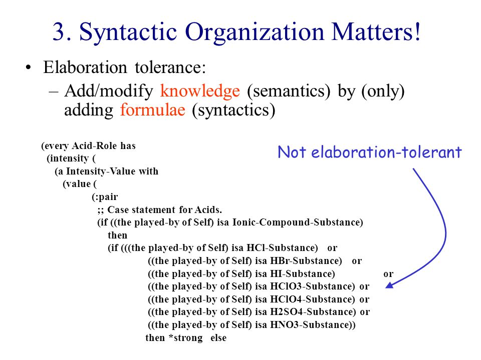 3. Syntactic Organization Matters.