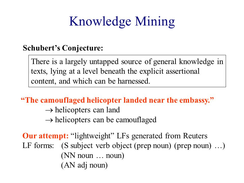 Knowledge Mining There is a largely untapped source of general knowledge in texts, lying at a level beneath the explicit assertional content, and which can be harnessed.
