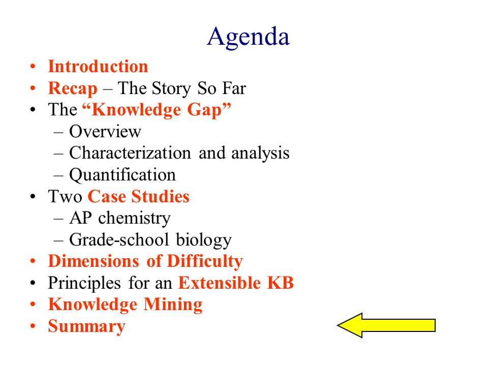 Agenda Introduction Recap – The Story So Far The Knowledge Gap –Overview –Characterization and analysis –Quantification Two Case Studies –AP chemistry –Grade-school biology Dimensions of Difficulty Principles for an Extensible KB Knowledge Mining Summary