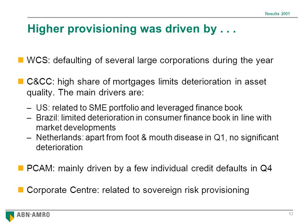 Results 2001 13 Higher provisioning was driven by...