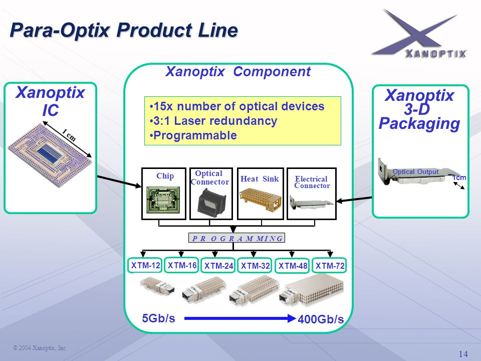14 © 2004 Xanoptix, Inc Para-Optix Product Line Chip Heat Sink Optical Connector Electrical Connector P R O G R A M M I N G XTM-12 XTM-16 XTM-24 XTM-32 XTM-48 XTM-72 Xanoptix IC Xanoptix Component 15x number of optical devices 3:1 Laser redundancy Programmable Xanoptix 3-D Packaging 1cm Optical Output 5Gb/s 400Gb/s