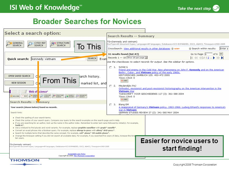 Copyright 2006 Thomson Corporation Broader Searches for Novices From This To This Easier for novice users to start finding!