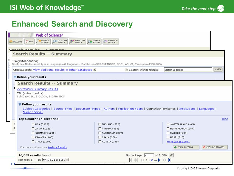 Copyright 2006 Thomson Corporation Enhanced Search and Discovery