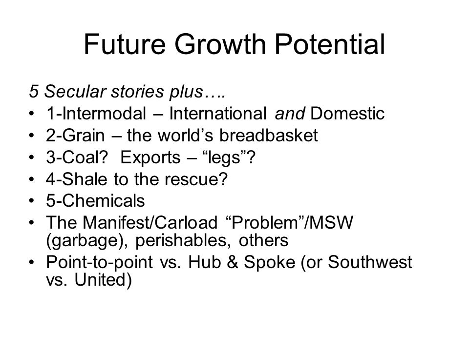 Future Growth Potential 5 Secular stories plus….