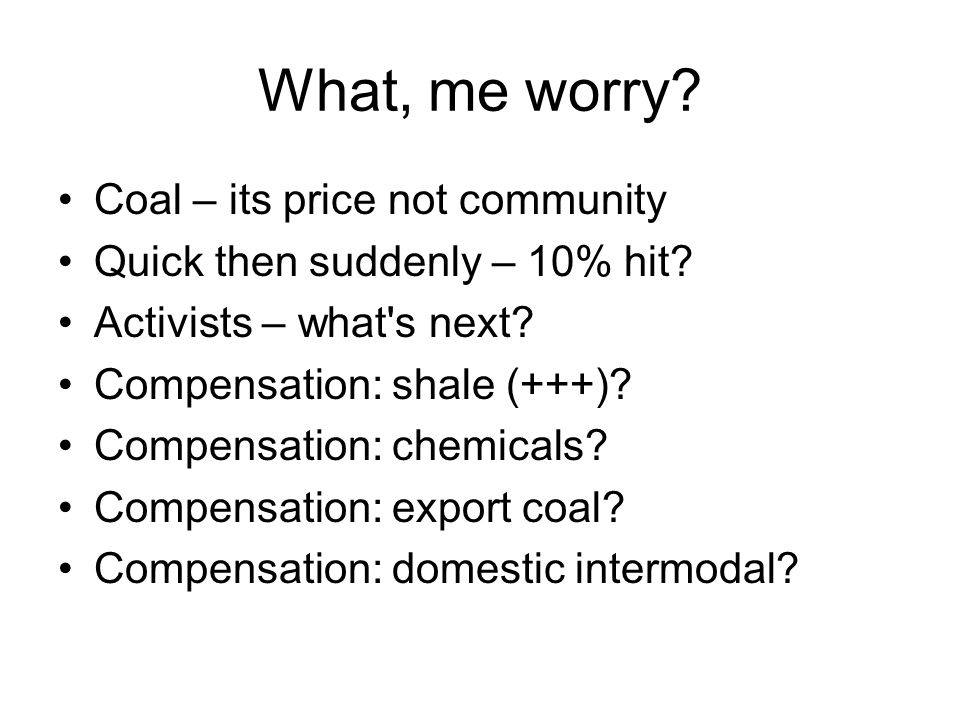 What, me worry. Coal – its price not community Quick then suddenly – 10% hit.