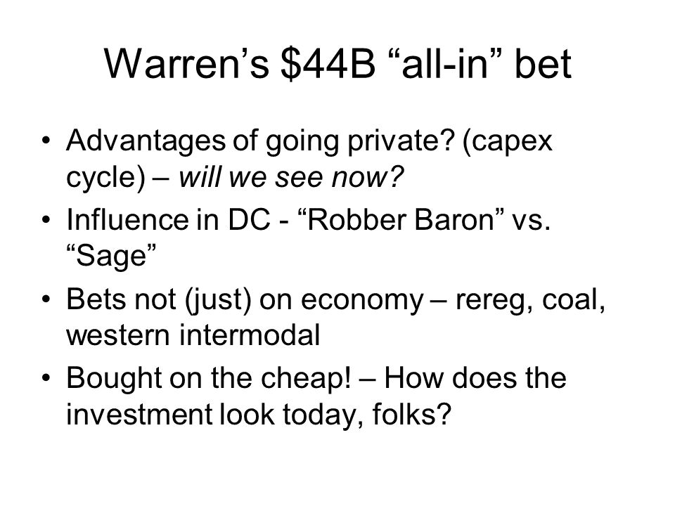 Warren's $44B all-in bet Advantages of going private.