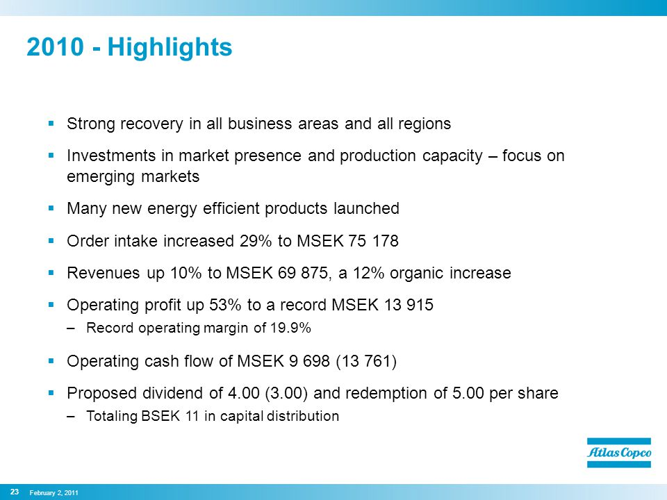 2010 - Highlights  Strong recovery in all business areas and all regions  Investments in market presence and production capacity – focus on emerging markets  Many new energy efficient products launched  Order intake increased 29% to MSEK 75 178  Revenues up 10% to MSEK 69 875, a 12% organic increase  Operating profit up 53% to a record MSEK 13 915 –Record operating margin of 19.9%  Operating cash flow of MSEK 9 698 (13 761)  Proposed dividend of 4.00 (3.00) and redemption of 5.00 per share –Totaling BSEK 11 in capital distribution February 2, 2011 23