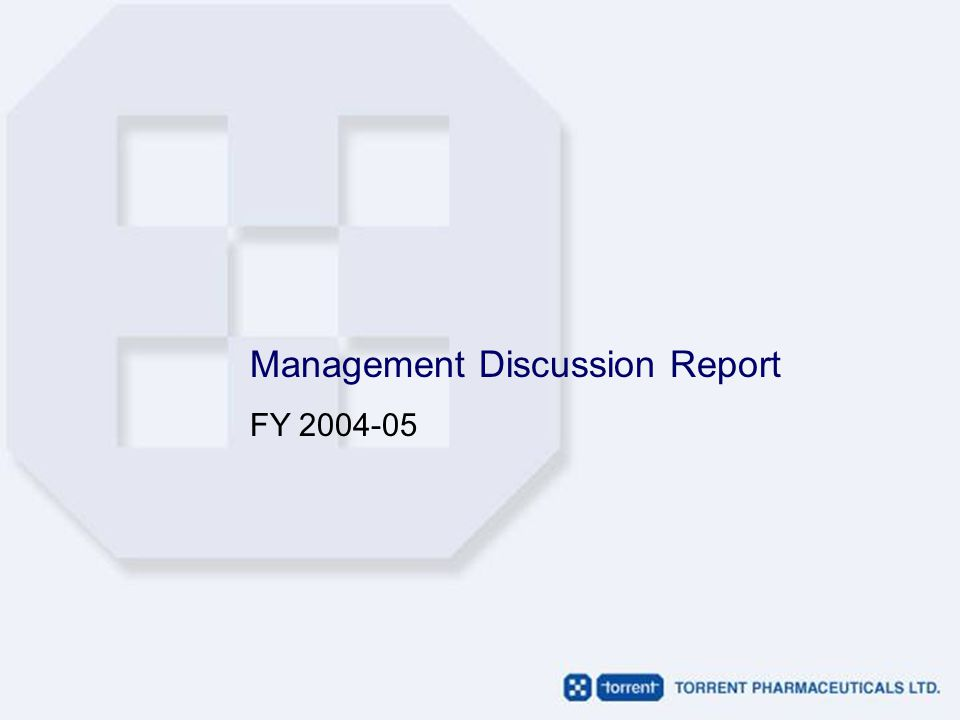 Management Discussion Report FY 2004-05