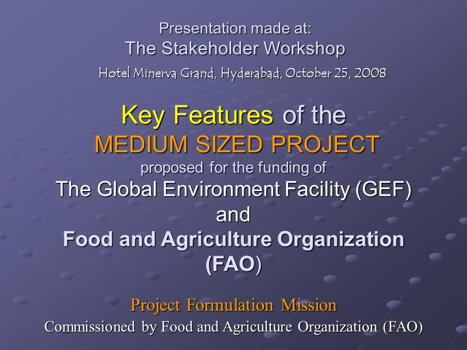 Presentation made at: The Stakeholder Workshop Hotel Minerva Grand, Hyderabad, October 25, 2008 Key Features of the MEDIUM SIZED PROJECT proposed for the funding of The Global Environment Facility (GEF) and Food and Agriculture Organization (FAO) Project Formulation Mission Commissioned by Food and Agriculture Organization (FAO)