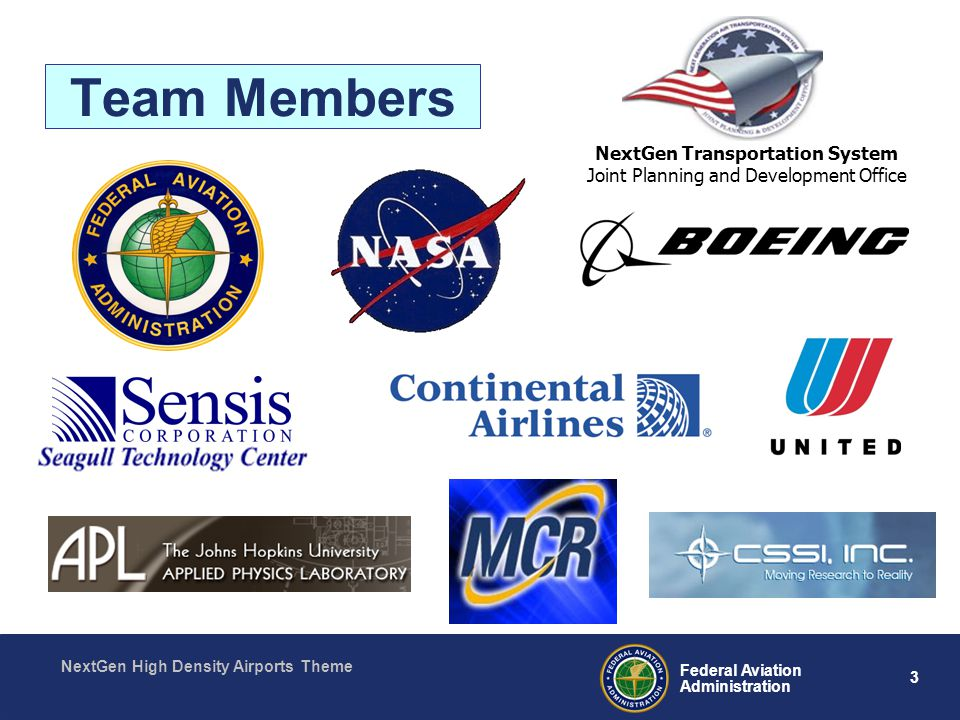 3 Federal Aviation Administration NextGen High Density Airports Theme Team Members NextGen Transportation System Joint Planning and Development Office