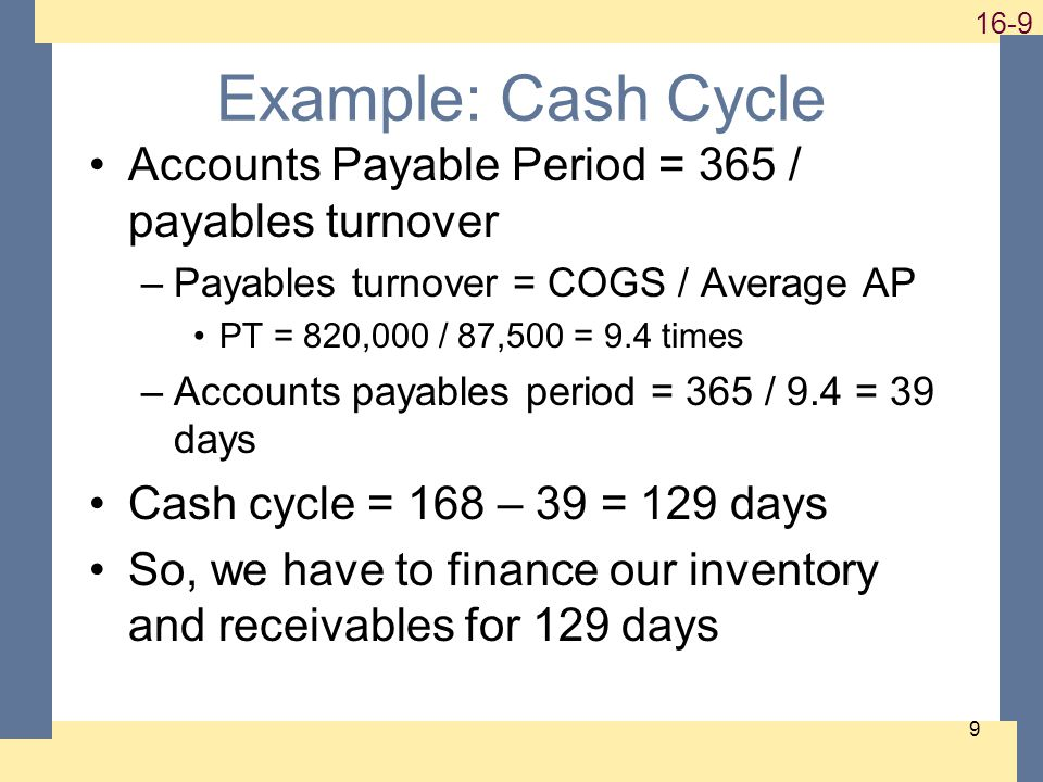 Example: Cash Cycle Accounts Payable Period = 365 / payables turnover –Payables turnover = COGS / Average AP PT = 820,000 / 87,500 = 9.4 times –Accounts payables period = 365 / 9.4 = 39 days Cash cycle = 168 – 39 = 129 days So, we have to finance our inventory and receivables for 129 days