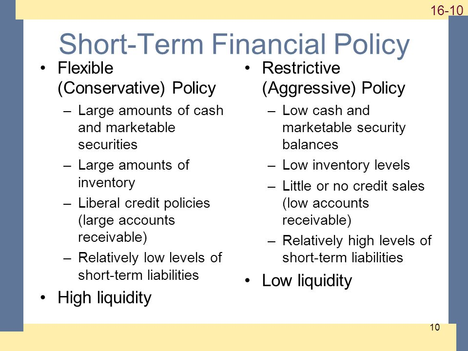 Short-Term Financial Policy Flexible (Conservative) Policy –Large amounts of cash and marketable securities –Large amounts of inventory –Liberal credit policies (large accounts receivable) –Relatively low levels of short-term liabilities High liquidity Restrictive (Aggressive) Policy –Low cash and marketable security balances –Low inventory levels –Little or no credit sales (low accounts receivable) –Relatively high levels of short-term liabilities Low liquidity