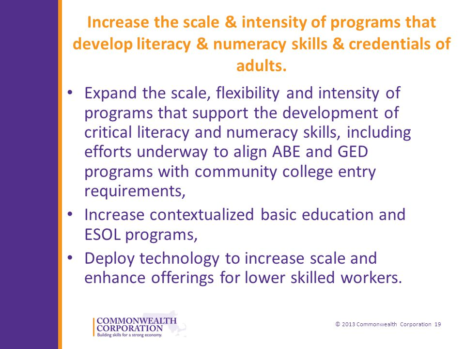 © 2013 Commonwealth Corporation 19 Increase the scale & intensity of programs that develop literacy & numeracy skills & credentials of adults.