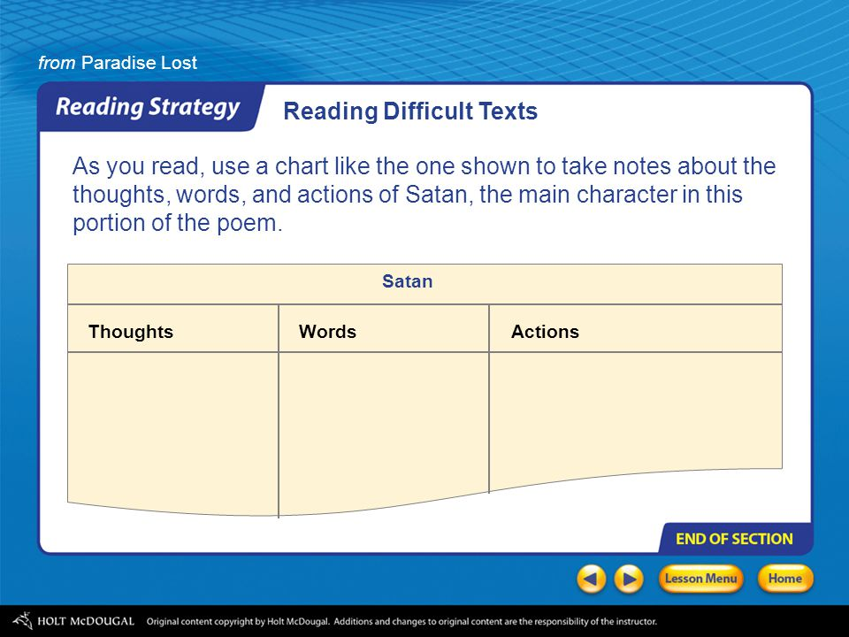 from Paradise Lost As you read, use a chart like the one shown to take notes about the thoughts, words, and actions of Satan, the main character in this portion of the poem.