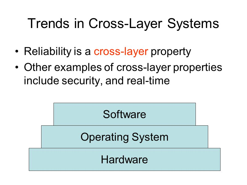 Trends in Cross-Layer Systems Reliability is a cross-layer property Other examples of cross-layer properties include security, and real-time Hardware Operating System Software