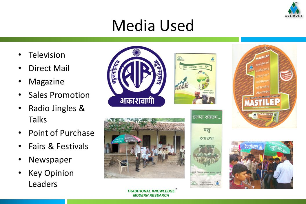 Media Used Television Direct Mail Magazine Sales Promotion Radio Jingles & Talks Point of Purchase Fairs & Festivals Newspaper Key Opinion Leaders