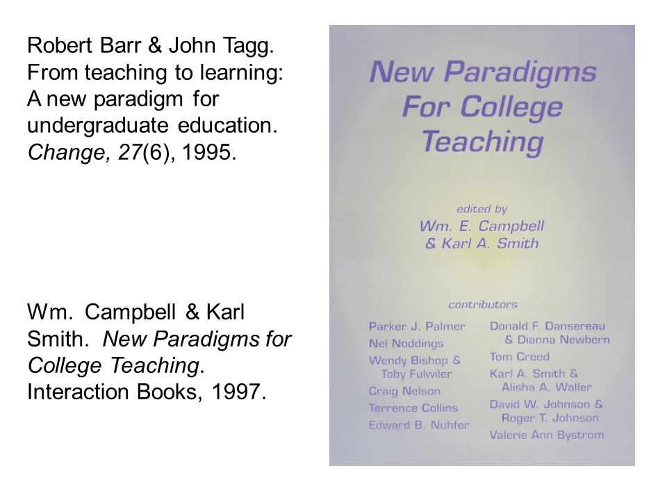 Robert Barr & John Tagg. From teaching to learning: A new paradigm for undergraduate education.