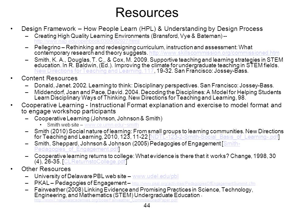 44 Resources Design Framework – How People Learn (HPL) & Understanding by Design Process –Creating High Quality Learning Environments (Bransford, Vye & Bateman) -- http://www.nap.edu/openbook/0309082927/html/ http://www.nap.edu/openbook/0309082927/html/ –Pellegrino – Rethinking and redesigning curriculum, instruction and assessment: What contemporary research and theory suggests.