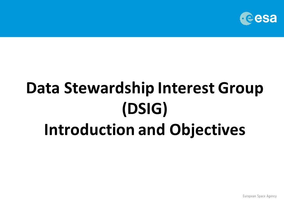 Data Stewardship Interest Group (DSIG) Introduction and Objectives
